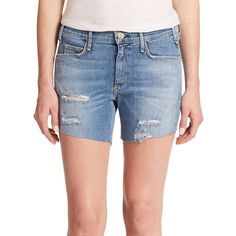 McGuire Riviera Distressed Denim Shorts ($76) ❤ liked on Polyvore featuring shorts, apparel & accessories, multicolored, frayed denim shorts, torn shorts, destroyed denim shorts, colorful jean shorts and denim shorts