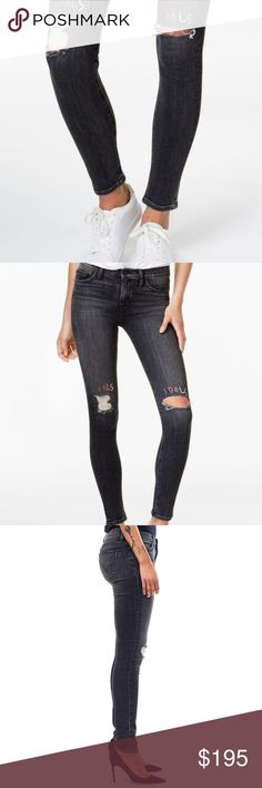 """🆕SALE!💥 Hudson Nico Ripped Super Skinny Jeans Hudson Washed Embroidered Skinny Jeans False Idol is a stylish statement piece, these super-skinnies from Hudson Jeans feature gray + white tie-dye detailing and edgy rips at knees in a sleek body-hugging silhouette!   Mid rise; skinny fit through hips and thighs; skinny leg Color:  Fido 'Flash Idols' embellishments Approx. inseam: 30"""" Zipper and button closure; belt loops Classic 5-pocket styling Ripped at front Gray and white tie-dye wash…"""