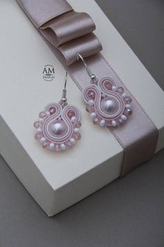 Pink Pearl Soutache Earrings Pink Dangle Earrings For Bridesmaid Minimalist Pearl Jewelry Easter Gift For Her