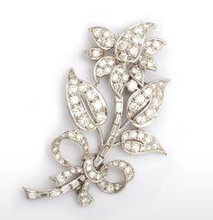 Diamond rose brooch