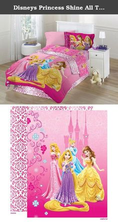 Disneys Princess Shine All The Time Full Comforter Set. Shine all the time with this beautiful Princess bedding pattern. Reversible comforter creates 2 distinct looks in 1. The front of the comforter features all of your favorite princesses and reverses to a sophisticated diamond & scroll motif. The sham features Aurora, Belle, & Rapunzel. The bedskirt is the same design as the back of the comforter.All of the components are made of 100% polyester for a soft hand and vibrant colors. This…