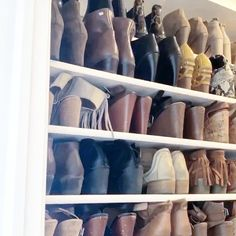 Well this before and after is crazy good!! Not only did my client get rid of 20 pairs of shoes a few months ago. I just asked her if she misses anything she got rid of? Absolutely not!!! Was her answer . I think some times it's hard to get started on that organizing mentality. But one you have a clean organized closet or space to move and grow it becomes easier to only keep things you love and make sense to have In You life! . DON'T Try being a sales clerk at the GAP and see if you can talk Small Space Organization, Wall Storage, Pantry Organization, Organizing, Small Space Living, Small Spaces, Living Spaces, Apartment Living, Apartment Ideas