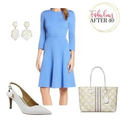 Business Chic, Business Fashion, Pretty Dresses, Blue Dresses, Neutral Pumps, Dresses For Sale, Dresses For Work, Office Looks, Dress And Heels