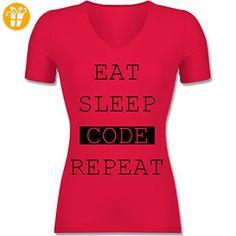 Programmierer - Eat-Sleep-Code-Repeat - XXL - Rot - F281N - Tailliertes T-Shirt mit V-Ausschnitt für Frauen (*Partner-Link)