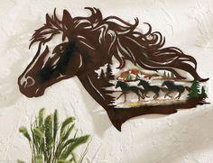 Western 3D Metal Wall Art Rustic Gallop Cowboy Wild Horse Southwest Accent Decor | eBay