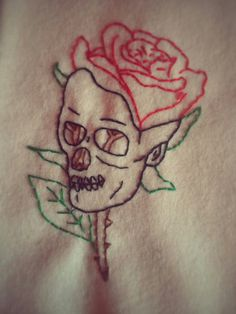 embroidered skull, needlework, embroidery