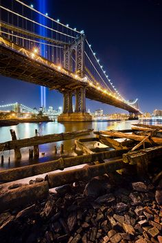 The Manhattan Bridge & The Tribute in Light, NYC
