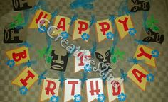 Luau Party Banner  Happy Birthday by CCreativeMind on Etsy