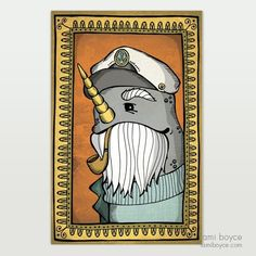 Take home Captain Narwhal in a portrait of a rare occasion of time spent on land. Old Portraits, Doodles, My Arts, Classy, Stamp, Texture, Antiques, Drawings, Illustration