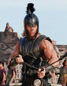 "This is a photo of Brad Pitt acting as the character Achilles in the movie ""Troy"" released in Brad Pitt Workout, Troy Achilles, Achilles Tendon, Troy Movie, Troy Film, Bradd Pitt, Brad Pitt Movies, Brad Pitt Photos, Trojan War"