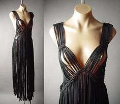 Black Macrame Long Fringe 60s 70s Wiccan Boho Woven Top Duster 189 mv Vest S M L