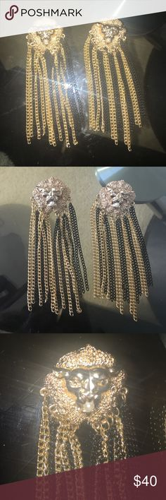 Amazing earings inspired by famous brand! Newer worn ! Very rich look ! Not plastic real metal and color from Chanel earings !no box ,Golden tiger with white pearl inside mouth ! Inspired by old Chanel collection Nasty Gal Jewelry Earrings