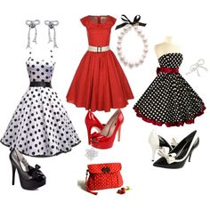 Polk-a-dot and Bows, I love the 50's style!!!