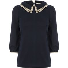 OASIS Lace Double Collar Blouse ($23) ❤ liked on Polyvore featuring tops, blouses, multi, collar blouse, three quarter sleeve tops, three quarter sleeve blouses, 3/4 sleeve tops and collar top