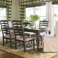 Casual Dining Room...love the green accents