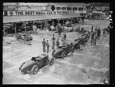 A photograph of racing cars at Brooklands circuit, Surrey, taken in April 1934 clearly with a lot of MG's
