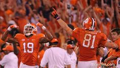 Clemson Tigers - Charone Peake (19) and Stanton Seckinger (81) celebrating the game-winning touchdown against Georgia. Their numbers together are 1981, the year Clemson won the national championship.