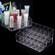 Clear Acrylic 24 Lipstick Stand Holder Display Case Cosmetic Makeup Organizer