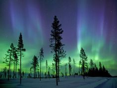 """Here's the Aurora borealis photographed in the early morning hours in the Arctic Circle. Also known as the Northern Lights, the spectacular light show is created when fast-moving charged particles from the sun hit the Earth's magnetic field at its poles. The image was published in the new book, """"Beautiful World,"""" by Lonely Planet."""