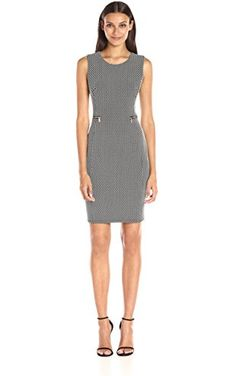 12dd6839694 Calvin Klein Women s Contrast-Dot Textured Sheath Dress
