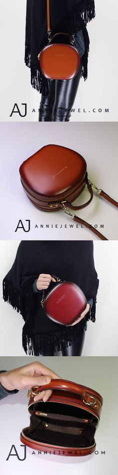 FUN GENUINE LEATHER HANDBAG VINTAGE HANDMADE CIRCLE BAG SHOULDER BAG CROSSBODY BAG PURSE FOR GIRLS WOMEN