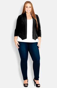 28d9969107cd1 City Chic  Cool Pocket  Open Front Jacket (Plus Size) Curvy Plus Size