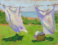 "Study of a Laundry Line by David Tanner Oil ~ 8"" x 10"""