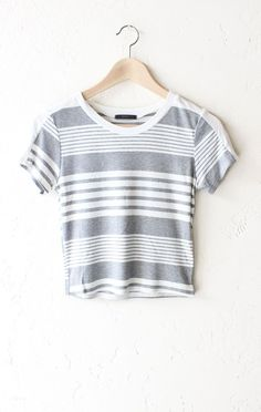 "- Description Details: Striped ribbed crop top grey/white. Form fitting, tend to run on the smaller side & are more fitted. Measurements (Size Guide): S: 30"" bust, 16.5"" length M: 32"" bust, 17.0"" leng"