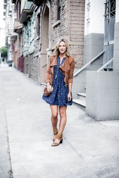 San Francisco outfit, women's fashion, casual style in Old Navy dress and suede moto jacket