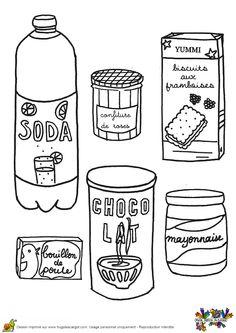 Coloriage de la liste des courses : confitures de roses, soda, biscuits aux framboises, chocolat chaud, bouillon de poulet et  mayonnaise.