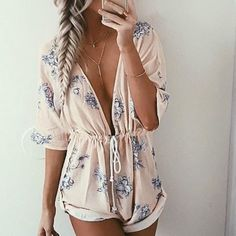 romper floral romper floral pastel long sleeves deep v plunge v neck pink rose pink dress jumpsuit blue white pattern lace cute girly summer summer outfits flowers musthave lowcut shorts floral romper short long sleeve romper baby pink