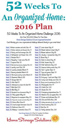 home organization Free printable list of the 52 Weeks To An Organized Home Challenges for Join over others who are getting their homes organized one week at a time! {on Home Storage Solutions Organisation Hacks, Household Organization, Storage Organization, Clothing Organization, Bathroom Organization, Diy Storage, Storage Ideas, Casa Clean, Clean House