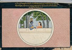 Krishna and Radha: Folio from the Second Guler Gita Govinda Series  First generation after Manaku and Nainsukh     Date:      ca. 1775  Culture:      India (Guler, Punjab Hills)  Medium:      Opaque watercolor on paper  Dimensions:      Page: 6 7/8 x 10 5/8 in. (17.5 x 27 cm) Image: 5 7/8 x 9 13/16 in. (15 x 25 cm)  Classification:      Painting  Credit Line:      Lent by the Collection of Barbara and Eberhard Fischer, on loan to the Museum Rietberg Zürich  Accession Number…