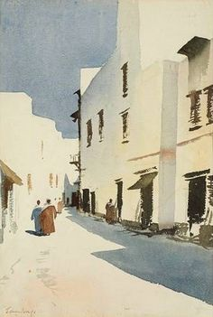 Edward Seago (1910 — 1974, UK) Mogador, Morocco. watercolor. 54 x 36 cm. (21.3 x 14.2 in.)