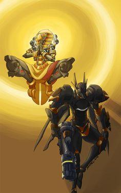 Overwatch by Skaphel. Zenyatta and Pharah