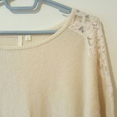 Cream Lace Pullover Scoop Neck  sweater Perfect condition. 70% acrylic 30% nylon. Nice and cozy Frenchi Sweaters Crew & Scoop Necks
