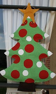 Making this Christmas burlap door hanger...maybe out of feed bags...just because...