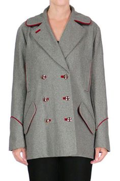 Get this season's essential military look with our piped grey wool officer's coat. Wear this beautifully tailored piece with red lips, distressed denim, and equestrian style boots.   Isabel Officers Coat Clothing - Jackets, Coats & Blazers - Coats - Peacoats San Francisco