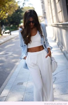 White pants, crop top and light blue blazer