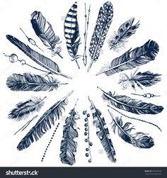 Tribal Theme Background With Hand Drawn Feathers Stock-Vektorgrafik - Illustration 405547639 : Shutterstock