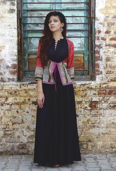 Blockprint koti jacket with inside full length black dress