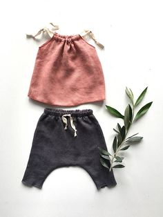 baby girl linen clothes baby linen outfit pink linen top and