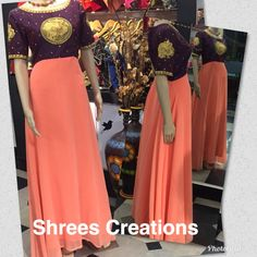 Long frock with heavy hand made work
