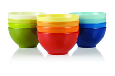 Bright, colorful bowls make for a great summer serving.