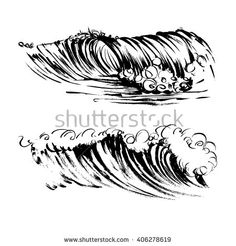Waves brush ink sketch handdrawn serigraphy print - stock vector