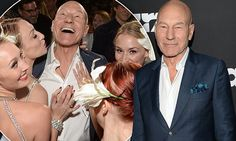 Patrick Stewart surrounded by burlesque dancers at LA party to celebrate his 75th birthday.. don't worry, his wife was there too!
