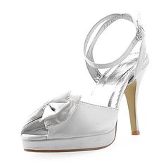 good Women's Satin Upper High Heel Strappy Sandals With Rhinestone/ Bowknot Wedding Bridal Shoes