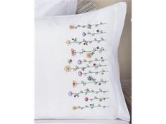 """Stamped Embroidery Pillowcase Pair 20""""X30""""-Tall Flowers"""