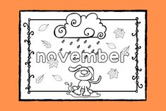 Lär dig skriva namnet på och känna igen hösttecknen för månaden #november medan du färglägger målarbilden.   #färglägga #målarbild #höst #skola #förskola #fritids #pedagog Math Worksheets, Banksy, Coloring Pages, Colouring, Social Studies, September, Stencil, Art For Kids, Preschool
