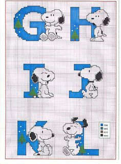 Cross stitch alphabet Charlie Brown Peanuts (2)